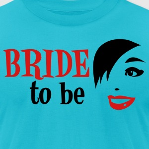 Turquoise WEDDING bride to be with vintage funky woman T-Shirts - Men's T-Shirt by American Apparel