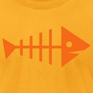 Gold fishbone fishy bones dead T-Shirts - Men's T-Shirt by American Apparel
