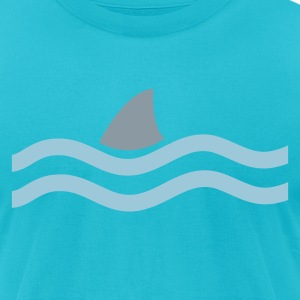 Turquoise SHARK IN THE WATER T-Shirts - Men's T-Shirt by American Apparel