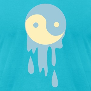 Turquoise BLEEDING DRIPPING YING YANG T-Shirts - Men's T-Shirt by American Apparel