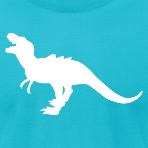 Turquoise TYRANNOSAURUS ROARING DINOSAUR T-Shirts - Men's T-Shirt by American Apparel