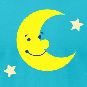 Turquoise MAN IN THE MOON SMILING T-Shirts - Men's T-Shirt by American Apparel