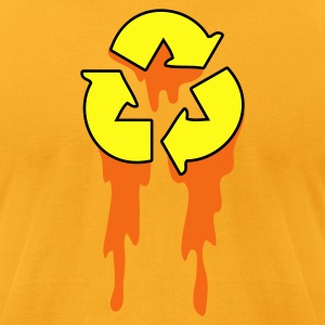 Gold recycle symbol dripping orange neon T-Shirts - Men's T-Shirt by American Apparel