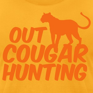 Gold OUT COUGAR HUNTING T-Shirts - Men's T-Shirt by American Apparel