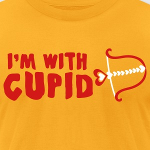 Gold I'm with cupid stupid T-Shirts - Men's T-Shirt by American Apparel