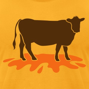 Gold cow meat with blood spatter vegetarian vegan T-Shirts - Men's T-Shirt by American Apparel