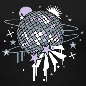 Black disco_ball Women's T-Shirts - Women's V-Neck T-Shirt