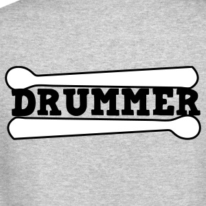 Heather grey drummer drums drum with drumsticks Long Sleeve Shirts - Crewneck Sweatshirt