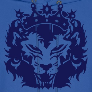 Royal blue The lion's head with crown Hoodies - Men's Hoodie
