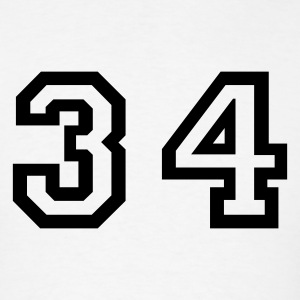 White Number - 34 - Thirty Four T-Shirts - Men's T-Shirt