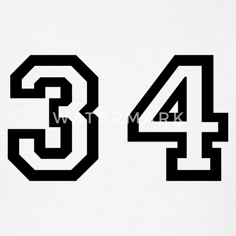 Number 34 Thirty Four T Shirt Spreadshirt