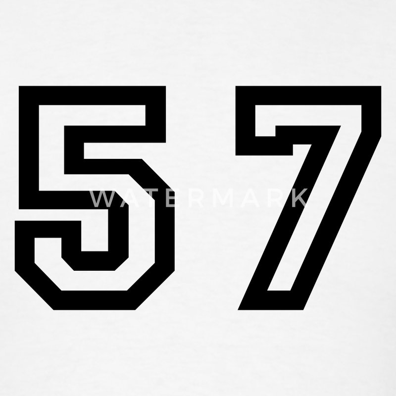 White Number - 57 - Fifty Seven T-Shirts - Men's T-Shirt