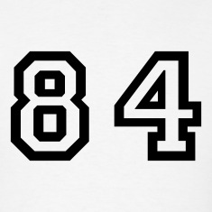 White Number - 84 - Eighty Four T-Shirts