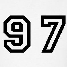 White Number - 97 - Ninety Seven T-Shirts