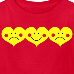 Red THREE HEARTS TOGETHER smiling and frowning cute ! Kids' Shirts - Kids' T-Shirt