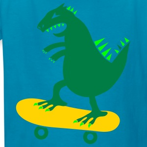 Orange skateboarding godzilla skate surf funny Kids' Shirts - Kids' T-Shirt