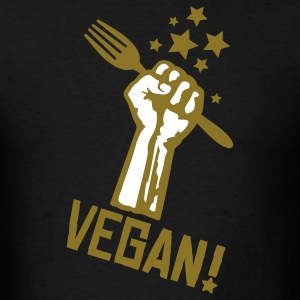 Black us_raisedfistvegan_2c T-Shirts - Men's T-Shirt