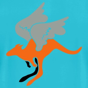 Turquoise flying aussie Australian kangaroo T-Shirts - Men's T-Shirt by American Apparel