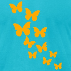 Turquoise Butterflies T-Shirts - Men's T-Shirt by American Apparel