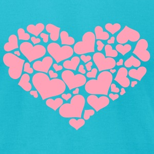 Turquoise Heart T-Shirts - Men's T-Shirt by American Apparel