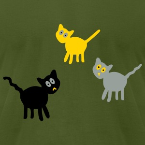 Olive three_cats T-Shirts - Men's T-Shirt by American Apparel