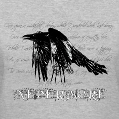 Gray The Raven - dark bg text Women's T-Shirts