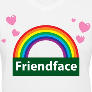 White friend face Women's T-Shirts - Women's V-Neck T-Shirt