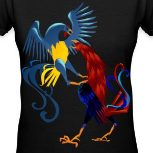 Two Colorful Fighting Roosters - Women's V-Neck T-Shirt