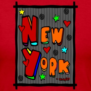 Red Funky New York, Art In Frame--DIGITAL DIRECT PRINT Long Sleeve Shirts - Women's Long Sleeve Jersey T-Shirt