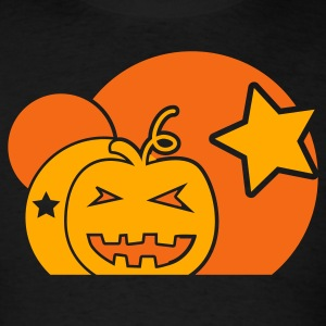 Black Halloween circle pumpkin and stars star T-Shirts - Men's T-Shirt