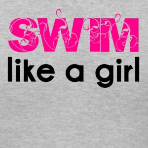 Gray swim like a girl Women's T-Shirts - Women's V-Neck T-Shirt