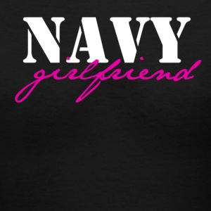 Black navy girlfriend Women's T-Shirts - Women's V-Neck T-Shirt