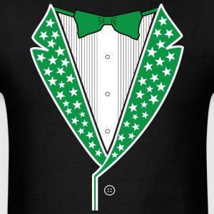 Star Tuxedo Green on Black - Men's T-Shirt