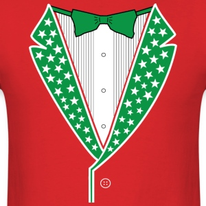 Star Tuxedo Green on Red - Men's T-Shirt