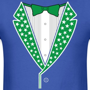 Star Tuxedo Green on Blue - Men's T-Shirt