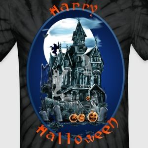 Haunted House Oval Lettered - Unisex Tie Dye T-Shirt
