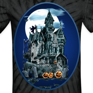 Haunted House Oval - Unisex Tie Dye T-Shirt