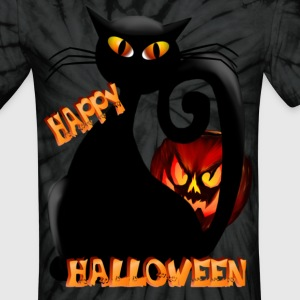 Black Halloween Kitty and Pet Pumpkin - Unisex Tie Dye T-Shirt