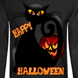 Black Halloween Kitty and Pet Pumpkin - Men's Long Sleeve T-Shirt
