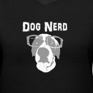 Black Dog Nerd Women's T-Shirts - Women's V-Neck T-Shirt