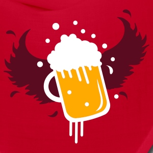 Red Beer glass with wings for Beer Festival visitors. Caps - Bandana