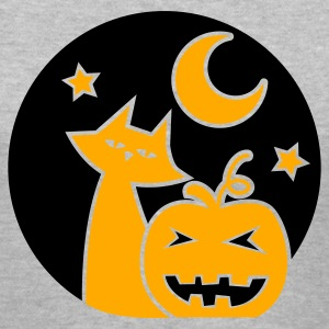 Gray Halloween circle pumpkin cats cat and stars star Women's T-Shirts - Women's V-Neck T-Shirt