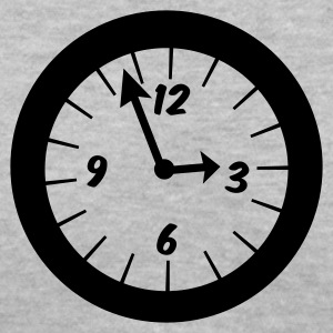 Gray simple clock at three oclock Women's T-Shirts - Women's V-Neck T-Shirt