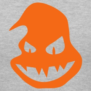 Gray Halloween ghost pumpkin scary face smiling with teeth Women's T-Shirts - Women's V-Neck T-Shirt