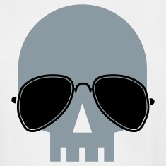 White skull with aviator glasses ROCK METAL T-Shirts