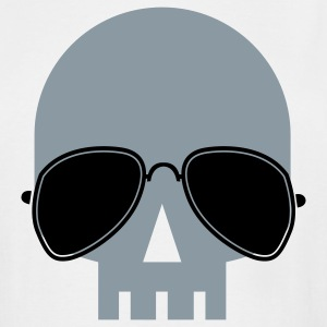 White skull with aviator glasses ROCK METAL T-Shirts - Men's Tall T-Shirt