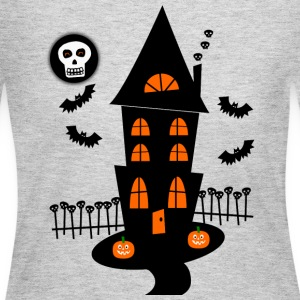 Gray Haunted House With Bats, Skulls And Skull Moon--DIGITAL DIRECT PRINT Long Sleeve Shirts - Women's Long Sleeve Jersey T-Shirt