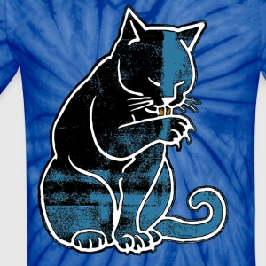 Cat Licking Paw - Unisex Tie Dye T-Shirt