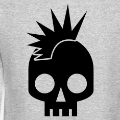 cool skull shape skulls emo with mowhawk Long Sleeve Shirts