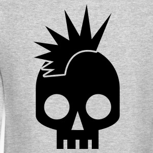 cool skull shape skulls emo with mowhawk Long Sleeve Shirts - Crewneck Sweatshirt